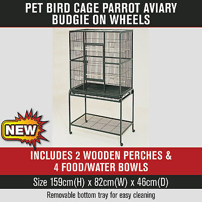Large 159cm Pet Bird Parrot Budgie Cage Aviary on Wheels Black