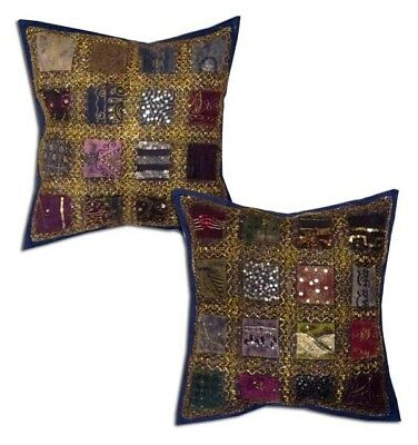 """16""""-2 Navy Vintage Sari Beaded Accent Throw Handcrafted Cushion Pillows Covers"""