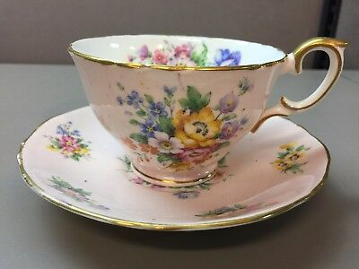 Staffordshire Crown Tea Cup  and Saucer Pink Background Floral Gilt Edge England