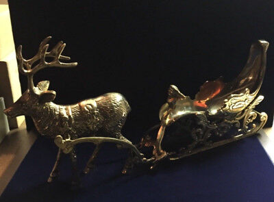 GORGEOUS SOLID BRASS REINDEER & SLEIGH 5 PC 7 LB  20+ inches LENGTH