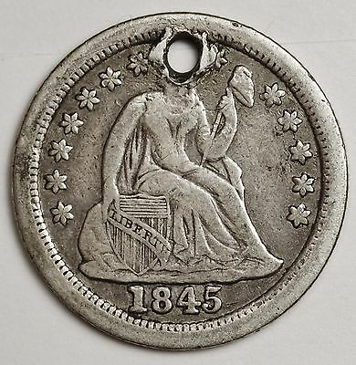 1845-o Seated Liberty Dime.  V.F. Detail.  Holed.  104671
