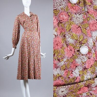XL Vintage 1930s Pink Floral Shirtwaist Dress Cotton Long Slv Glass Buttons 30s