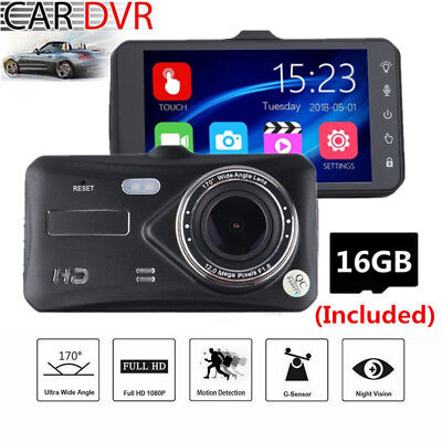 4 Inch Touch Screen Car Camera DVR Vehicle Camcorder Dash Cam With SD Card