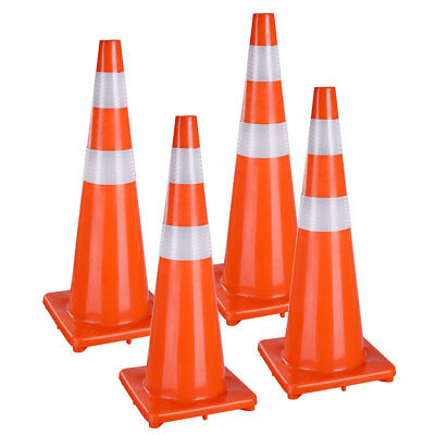 "36"" Traffic Safety Cones Reflective Collars Overlap Parking Construction 4 Pcs"