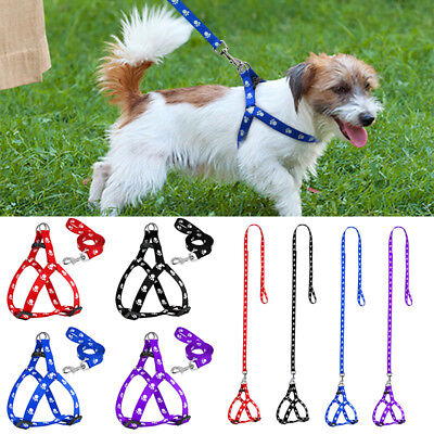 Small Dog Harness and Leash Set Cute Paw Print Soft Nylon for Pet Puppy Walking