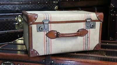 Beautiful Vintage Leather & Canvas Hatbox Trunk