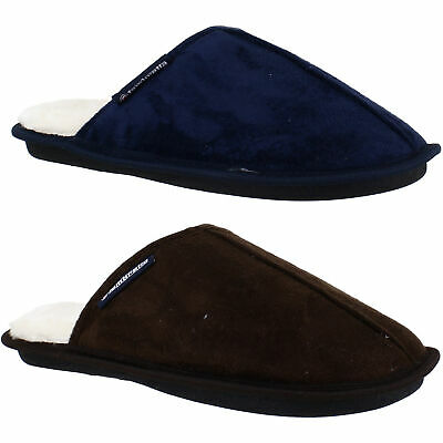 Mens Lambretta Memory Foam Warm Lined Soft Slip On Mule Slippers Sizes 6 to 11