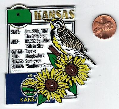 KANSAS  STATE MONTAGE FACTS MAGNET with state  Meadowlark Sunflower  and flag,