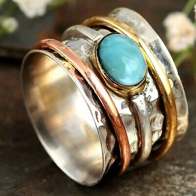 Larimar Spinner Ring Sterling Silver Stone Hammered Wide Band Women Size 7 8 9