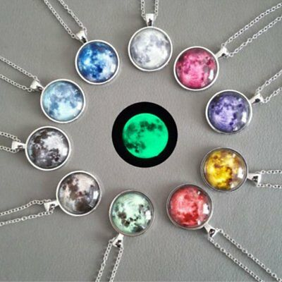 Glow In The Dark Moon Stone Pendant Necklace Galaxy Charm Chain Fashion Jewelry
