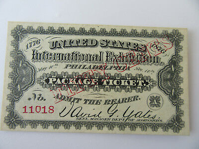 Centennial Exposition 1876 World's Fair Package Admission Ticket  (#11018)