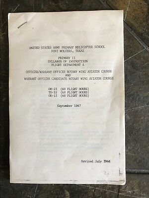 1967 Fort Wolters Texas US Army Primary Helicopter School Syllabus