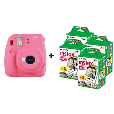 Fuji Fujifilm Instax Mini 9 Instant Camera with 80 Shots - Flamingo Pink