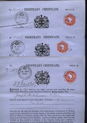1905-13 SIX POUND REVENUE stamps on three Solicitors Practising Certificates