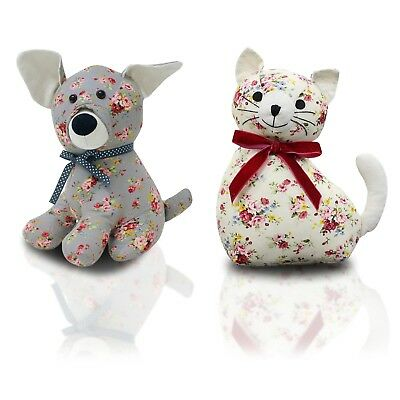 Floral Dog Cat Animal Doorstop Stopper Jam Heavy Weight Sand Filled Wedge Fabric