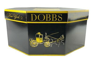 Vintage Dobbs Fifth Avenue Octagon Hat Box Horse & Carriage Black Yellow