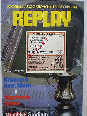 MANCHESTER UNITED v. BRIGHTON 1983 FA CUP FINAL REPLAY PROGRAMME & TICKET *VGC*
