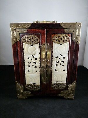 Vintage Chinese Carved Jade Rosewood Jewellery Box Cabinet