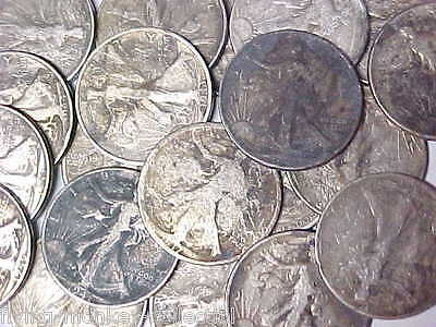 Lot of 20 Walking Liberty Silver Half Dollars $10 Face Value 20 Circulated Coins