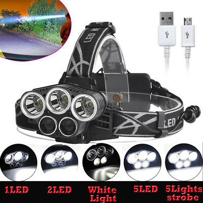80000LM 5x T6 LED Rechargeable 18650 USB Headlamp Head Light Zoomable Lamp