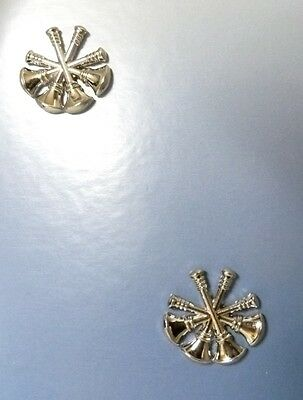 Deputy Fire Chief Collar Pin Device 4 Crossed Bugles Tac 2 Pc Set Silver New