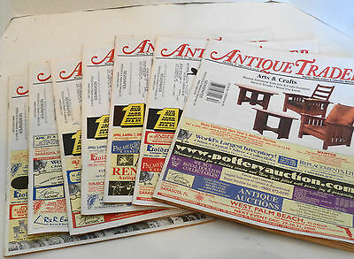Lot of Seven 2001 Antique Trader News Magazines Quilts Lighters, Etc.