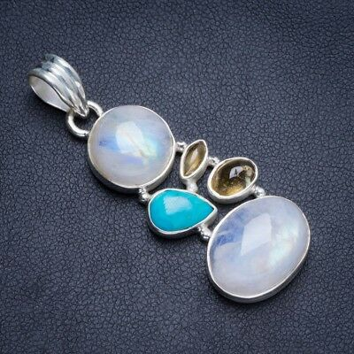 "Rainbow Moonstone,Turquoise and Quartz 925 Sterling Silver Pendant2"" Y5265"
