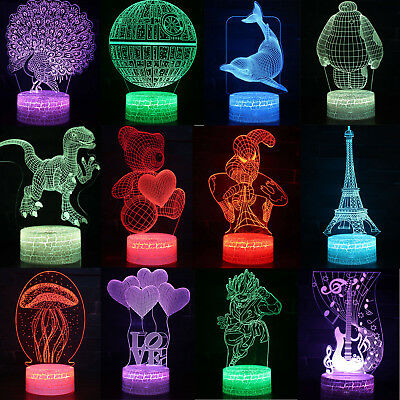 3D LED illusion Magical Touch USB 7Color Table Night Light Lamp Bedroom Kid Gift