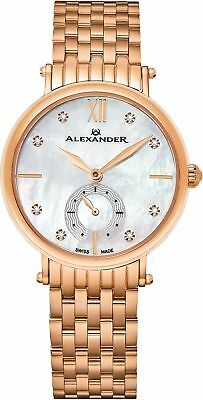 Alexander Monarch Roxana White Mother of Pearl DIAMOND Large Face Stainless Stee