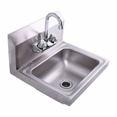 Stainless Steel Wall Mount Hand Wash Sink for Kitchen Bar / Janitorial Room New