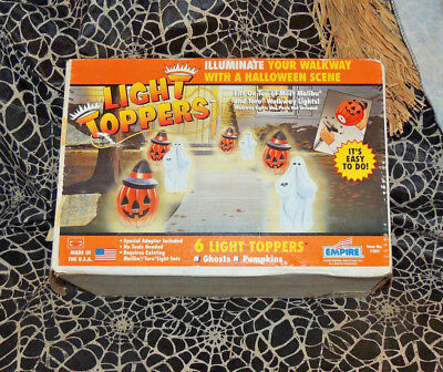 6 EMPIRE Halloween Blow Mold Pumpkin Jack O Lantern Pathway Light Toppers In Box