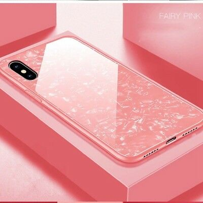 For iPhone XS MAX XR 8 Marble Pattern Tempered Glass Case Shockproof Slim Cover
