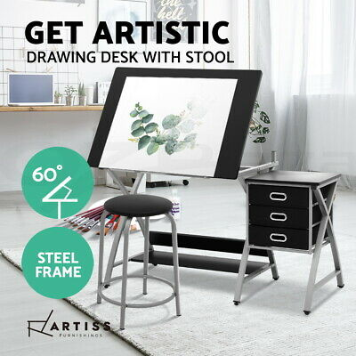 Drawing Desk Drafting Table Craft Adjustable Glass Art Tilt Drawers Silver Metal