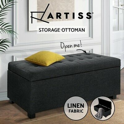 Artiss Ottoman Storage Blanket Box Foot Stool Chest Toy Bed Fabric Charcoal