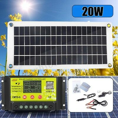 20W 12V/5V USB DC Battery Solar Panel + Controller Kit Set Phone RV Car Boat