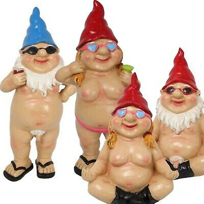 Rude Garden Gnomes x2 Naughty Funny Nude Naked Gnome Statue Ornaments Gift New