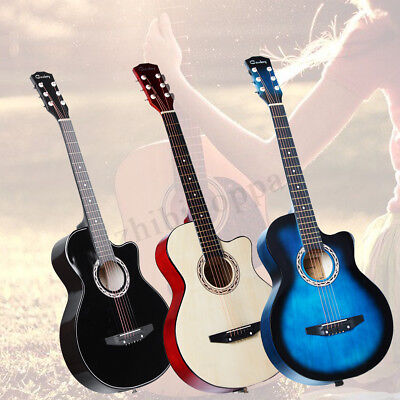 38'' 4 color Acoustic Folk 6 String Guitar for Beginners Students Adult with Bag