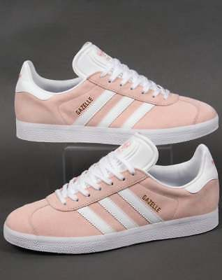 Adidas Gazelle Trainers in Light Pink & White suede - retro 70s 80s 90s