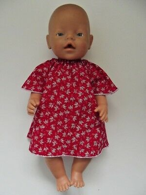 """DOLLS CLOTHES to fit 43cm (17"""") BABY BORN *Red and White Dress*"""