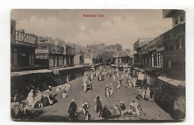 Peshawar City, India (later Pakistan) - The Bazaar - old postcard