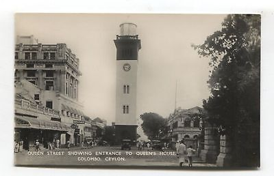 Colombo - Queen Street showing entrance to Queen's House - old Ceylon postcard