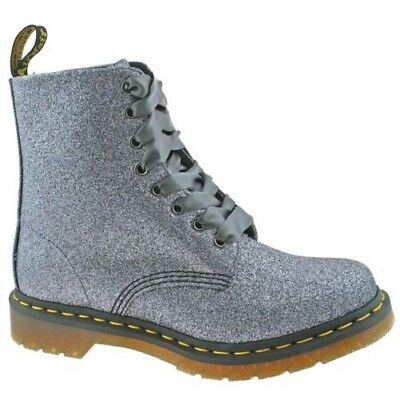 Ladies Dr Martens 1460 Pascal Pewter Glitter 8 Eyelet Lace Up Boots