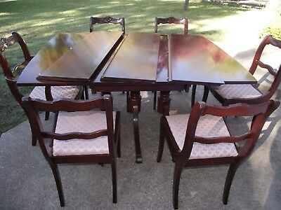 Vtg Craddock mahogany drop leaf dining table & carved chairs 3 additional leaves