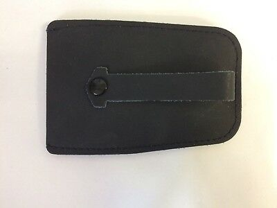BLACK PU Leather Bell Key Case with Retractable Key Holder