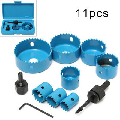 11in1 Hole Saw Tooth Kit Carbon Steel Drill Bit Set Cutter Tool Fits Metal Wood