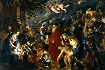 Adoration by the Magi by Peter Paul Rubens Oil painting Printed on Canvas