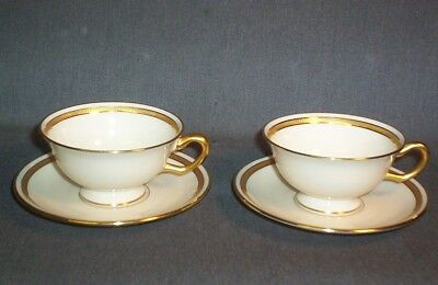 2 Lenox Made Exclusively For Hutzler Bros Baltimore Cup & Saucer Sets Ivory/gold