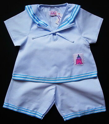 BABY BOY SAILOR SUIT Wedding Christening Cotton Outfit Pale Blue Pyjama Clothing