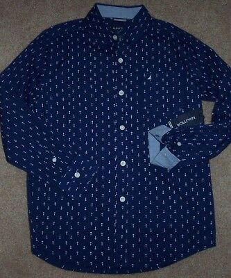 NWT Nautica $39.50 Navy Blue WHITE ANCHORS Button-Up Shirt Boys L 14/16 Sailboat