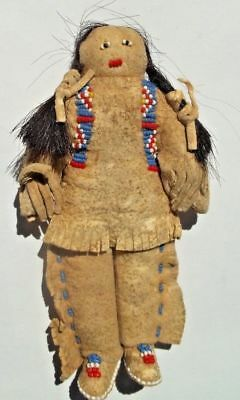Antique Plains Indian Buckskin Beaded Horsehair Doll Sioux Native late1800s